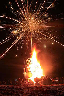 Giant Birthday Cake With Fireworks On Top Art Print by Dave Brooksher