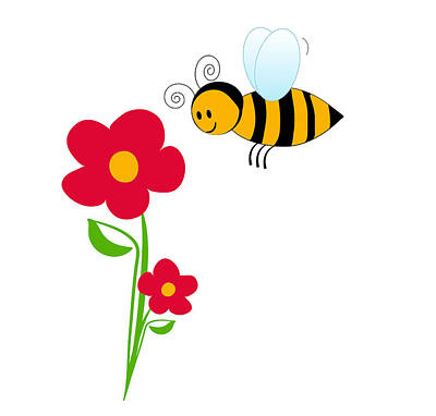 Drawing - Giant Bumble Bee And Red Flowers by Serena King