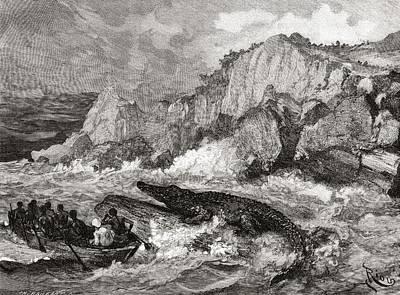 Giant Crocodile Threatens A Boat On The Art Print by Vintage Design Pics