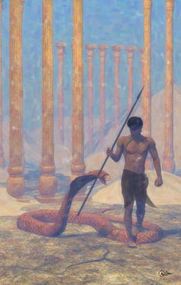 Male Nude Drawing Digital Art - Giant Egyptian Cobra by Joaquin Abella