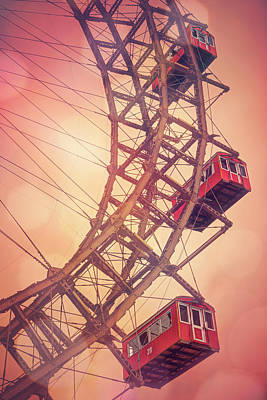 Funfair Photograph - Giant Ferris Wheel Prater Park Vienna  by Carol Japp