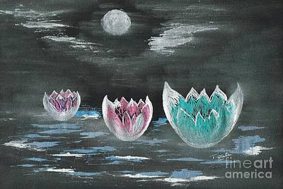 Giant Lilies Upon Misty Waters Art Print