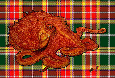 Mixed Media - Giant Pacific Octopus On Tartan  by Jennifer Creech