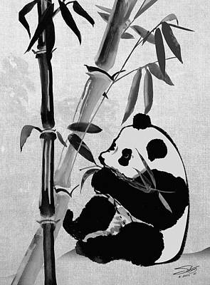 Digital Art - Giant Panda And Bamboo by IM Spadecaller