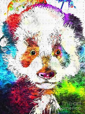 Giant Panda Mixed Media - Giant Panda Grunge by Daniel Janda