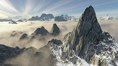 Digital Art - Giant Peak From Above by Erik Tanghe