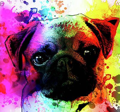 Animal Lover Digital Art - Giant Pug Watercolor Print  by Robert R Splashy Art Abstract Paintings