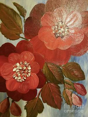 Painting - Giant Red Camelias by Maria Urso