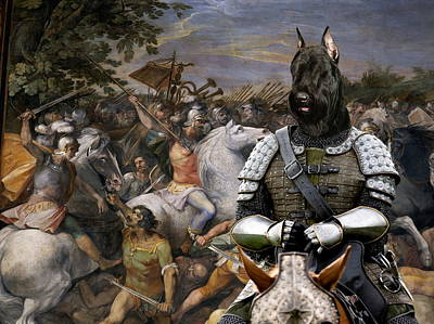Painting - Giant Schnauzer Art Canvas Print - The Brave Riccer  by Sandra Sij