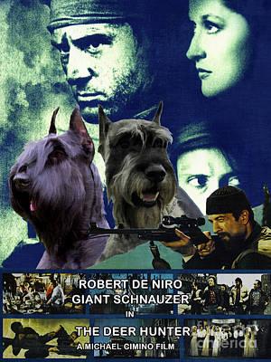 Painting - Giant Schnauzer Art Canvas Print - The Deer Hunter Movie Poster by Sandra Sij