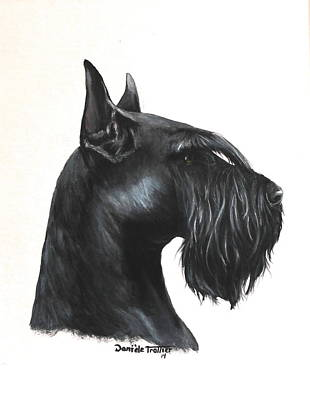 Schnauzer Puppy Painting - Giant Schnauzer by Daniele Trottier
