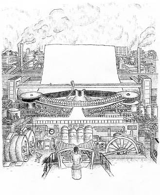 Giant Steam-driven Typewriter Art Print by Robert Doerfler