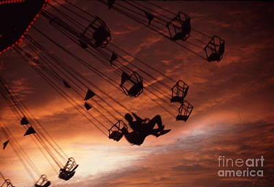 Nighttime Street Photography - Giant Swing at the fair Sunset by Robert Gaines