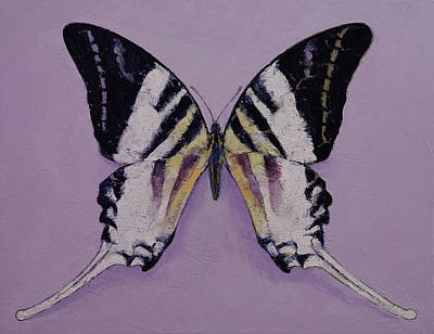 Zebra Patterns Painting - Giant Swordtail Butterfly by Michael Creese