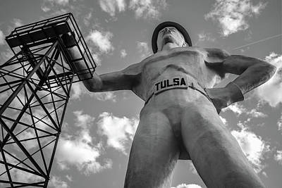 Photograph - Giant Tulsa Driller Statue - Black And White Edition by Gregory Ballos