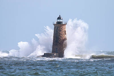Photograph - Giant Waves At Whaleback Lighthouse by Eric Gendron