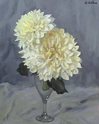 Painting - Giant White Dahlias In Wine Glass by Robert Holden