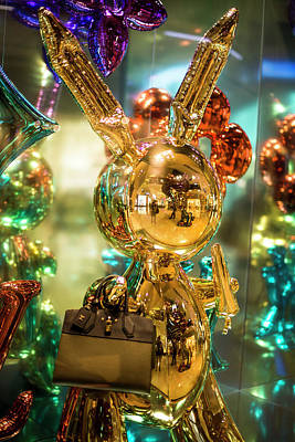 Photograph - Giant Yellow Metallic Bunny Of Doom by Alex Lapidus