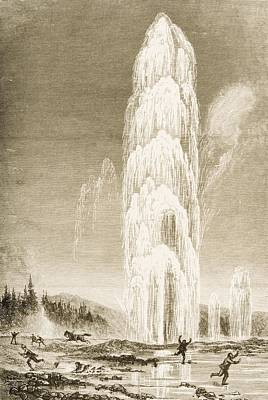 Yellowstone Drawing - Giantess Geyser In Yellowstone National by Vintage Design Pics