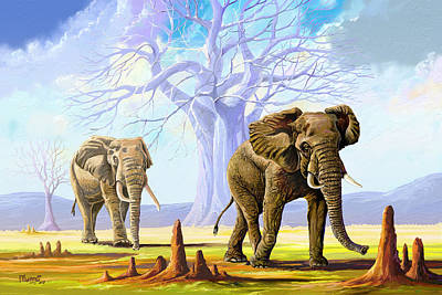 Painting - Giants And Little People by Anthony Mwangi
