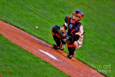 Photograph - Giants Buster Posey Gets Fast Ball by Blake Richards