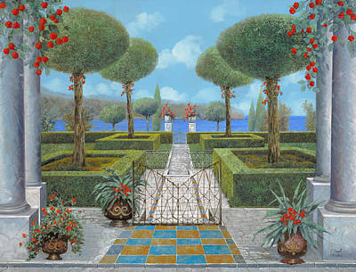 Curated Round Beach Towels - Giardino Italiano by Guido Borelli
