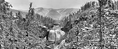 Photograph - Gibbon Falls Black And White Snowy Panorama by Adam Jewell