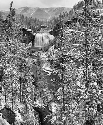 Photograph - Gibbon Falls Snowy Black And White by Adam Jewell