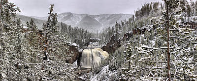 Photograph - Gibbon Falls Snowy Panorama by Adam Jewell