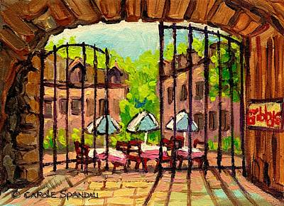 Quebec Streets Painting - Gibbys Restaurant In Old Montreal by Carole Spandau
