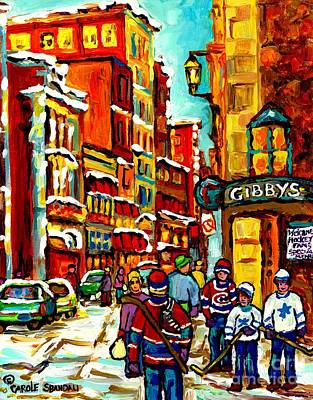 Gibby's Restaurant Vieux Port Old Montreal Canadian Winter Scene Art Hockey Painting Carole Spandau  Original by Carole Spandau