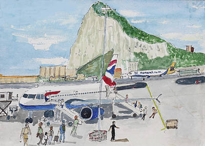 Airways Painting - Gibraltar Airport by Bill White