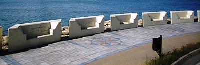 Photograph - Gibraltar Ocean Promenade Walkway Benches Uk by John Shiron