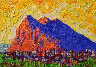 Painting - Gibraltar The Rock Contemporary Impressionism Impasto Palette Knife Oil Painting  Ana Maria Edulescu by Ana Maria Edulescu