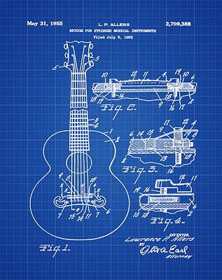 Gibson Photograph - Gibson Acoustic Guitar Patent 1955 Blue Print by Bill Cannon