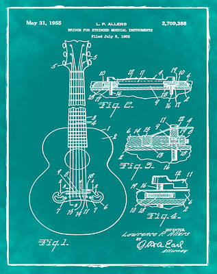 Acoustic Guitar Photograph - Gibson Acoustic Guitar Patent 1955 Green by Bill Cannon