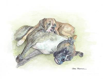Boxer Painting - Gibson And Sunday by Joan Sharron