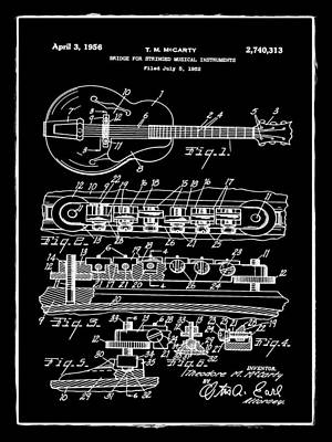 Electric Guitar Photograph - Gibson Electric Guitar Bridge Patent 1956 Black by Bill Cannon