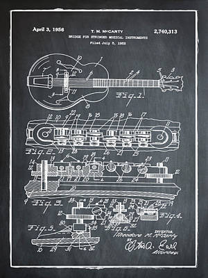 Gibson Photograph - Gibson Electric Guitar Bridge Patent 1956 Chalk by Bill Cannon