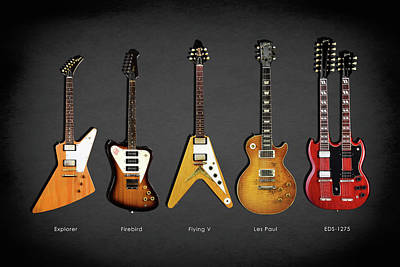 Gibson Electric Guitar Collection Art Print by Mark Rogan