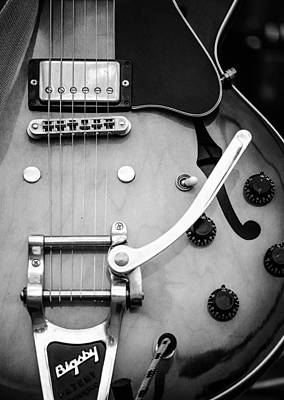 Photograph - Gibson Electric Guitar Monochrome by Andrea Mazzocchetti