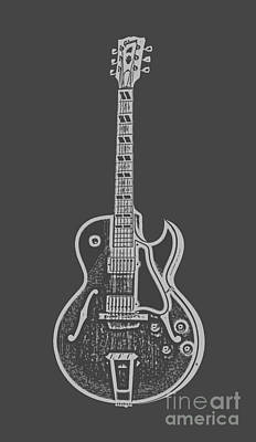 Lines Digital Art - Gibson Es-175 Electric Guitar Tee by Edward Fielding