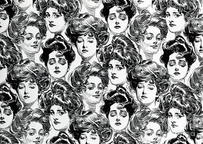 Drawing - Gibson Girl  Design For Wallpaper by Charles Dana Gibson