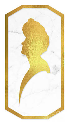 Gibson Girl Gold And Marble Cameo Rectangle Left Facing Art Print by Tina Lavoie