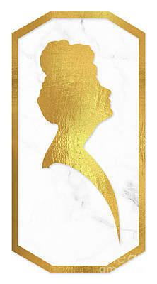 Gibson Girl Gold And Marble Cameo Rectangle Right Facing Art Print by Tina Lavoie