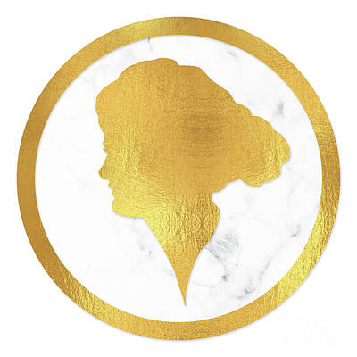 Gibson Girl Gold Silhouette, Marble Cameo, Left Facing Art Print by Tina Lavoie