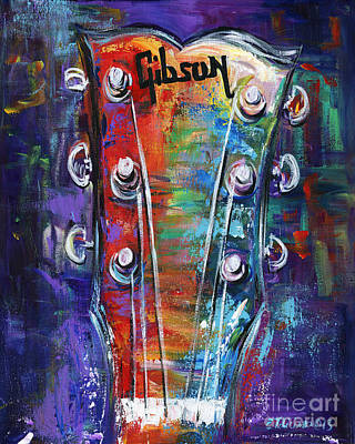 Painting - Gibson Guitar by Elena Feliciano