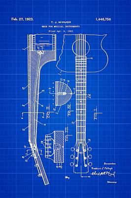 Guitar Player Digital Art - Gibson Guitar Patent 1923 Blue Print by Bill Cannon