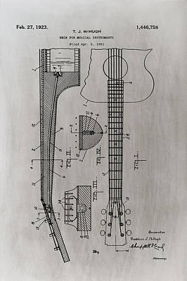 Guitar Photograph - Gibson Guitar Patent 1923 Light Sepia by Bill Cannon