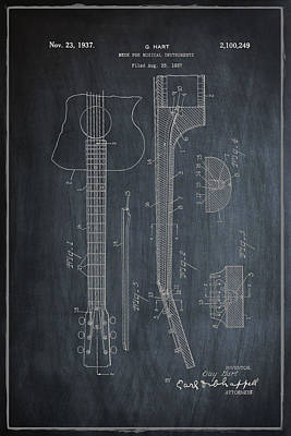1937 Digital Art - Gibson Guitar Patent Neck 1937 Vintage  - Chalk by Bill Cannon
